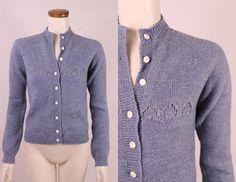 Vintage 70s  Blue Hand Knit Handmade  Open Knit by starlingdarlin