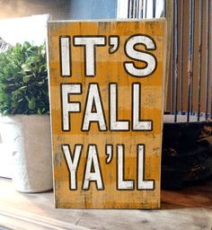 "It's Fall Ya'll Block Wooden Sign.  Orange with light orange stripes.  10""x6"" Handmade in the USA."