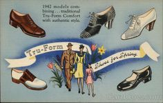 Tru-Form Shoes 1930s advertising postcard