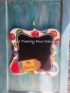 Teacher Door Hangers, Teacher Doors, Wooden Door Hangers, Wooden Doors, Classroom Door, Classroom Ideas, Chalkboard Decor, All The Colors, Teacher Gifts