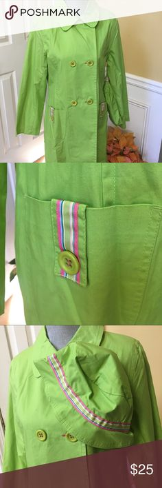 "Talbots Raincoat Beautiful Talbots kids raincoat is a size 18. A junior or similar size could definitely wear as well. It is a true lime green with hot pink stitching and accents. Lime green buttons. Two pockets. Rain hat. Sleeve from shoulder to hem is 24"". Back shoulder to shoulder is 15"". Talbots Jackets & Coats Raincoats"