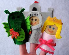 fairy tale finger puppets - dragon, knight, princess, and castle