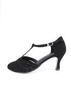 """1930s T-Strap Highs in black Nubuck or Silver leather.  $75. 2.75"""" high heel Made specially for us by a well known dance shoe manufacturer, they are customized with a special sole that is wearable both on the street and the dance floor. The 2.75"""" flared heel has a steel shank for sturdiness + support. Padded insole for comfort. Hook closure for easy on and off. Runs true to size.  Perfect for the Jazz Age, Great Gatsby, Flapper look, or even Downton Abbey looks."""