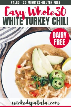 Healthy Paleo White Turkey Chili Recipe - The BEST white turkey chili recipe! See how to make paleo turkey chili without beans, in just 30 minutes. This easy, healthy white turkey chili is naturally with a low carb option, too. Easy Paleo Dinner Recipes, Easy Whole 30 Recipes, Paleo Chicken Recipes, Best Gluten Free Recipes, Lunch Recipes, Breakfast Recipes, Paleo Meals, Whole30 Recipes, Diet Breakfast