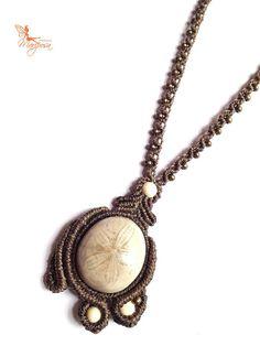 Starfish fossil macrame necklace adjustable par creationsmariposa, $52.00