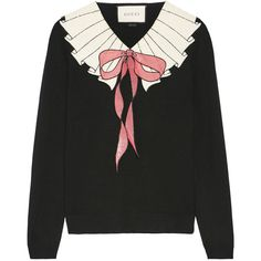 Gucci Sequin-embellished wool sweater (79.885 RUB) ❤ liked on Polyvore featuring tops, sweaters, gucci, shirts, black, sequin shirt, bow top, sequin top, woolen shirts and embellished tops