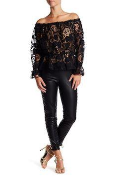 c782aa35c43f Lotte Faux Leather Side Lace Leggings