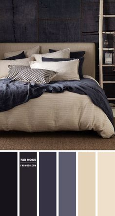 From textured wall colors to eye-catching furnishings this bedroom room in charcoal and blue grey color scheme will take your space to your next level. This gorgeous bedding linen set was from Secret Linen Store. Grey Bedroom Colors, Bedroom Colour Palette, Bedroom Color Schemes, Blue Bedroom, Home Decor Bedroom, Bedroom Color Combination, Charcoal Bedroom, Japanese Home Decor, Living Room Grey