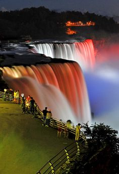 View of Prospect Point with American falls taken from the Observation Tower in Niagara Falls State Park, USA