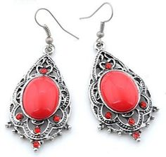 EA114 Tibetan silver exquisite RED crystal drop earing with hook style - suitable only to piercings. Normally retails for around $25 each - my selling price (including postage within Australia) is $15.00 each... Please feel free to contact me if your require price for postage overseas…