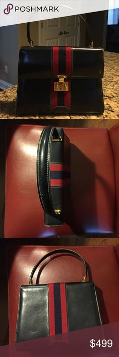 Vintage Gucci Navy blue leather satchel Vintage Gucci navy blue leather satchel.  Kelly style hard exterior with gold clasp.  The front has an envelope style top flap.  Red & navy fabric stripe on front & back.  Measurements 10 inches in length by 7.5 inches in height by 3 inches width.  In great condition.  Broken zipper on pocket inside. Gucci Bags Satchels