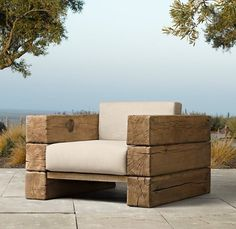 Furniture: Wooden Lounge Chair The Aspen Lounge Chair From Restoration Hardware Scandinavian Artisan Design By Søren Rose Features French Oak Timbers Oak Chair Design: Adorable Garden Chairs as Outdoor Focal Point Garden Furniture Design, Pallet Furniture, Rustic Furniture, Furniture Ideas, Antique Furniture, Furniture Logo, Furniture Stores, Cheap Furniture, Modern Furniture