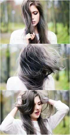 best highlights for dark brown hair with gray - Google Search