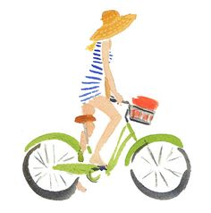 bicycle. jaunty stripes. straw hat. watercolor. #summer