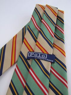 Vintage POLO RALPH LAUREN Tie for Neiman Marcus Blue Green Yellow Red Striped #PoloRalphLauren #Tie