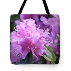 "Light Purple Rhododendron with Leaves Tote Bag 18"" x 18"" by Carol Groenen"