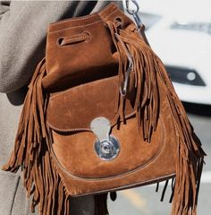 Ralph Lauren Fringed Ricky Drawstring Bag | The Best Bags of NYFW Fall 2016 Street Style | PurseBlog