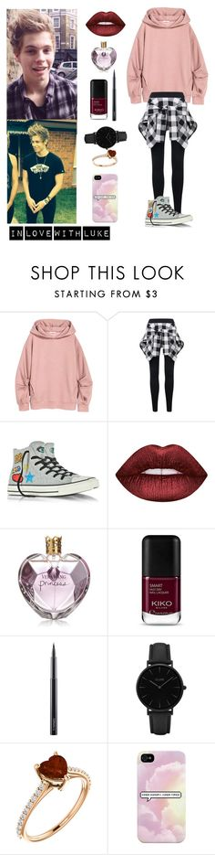 """""""I am so in love with Luke"""" by justkittyfanggyg ❤ liked on Polyvore featuring Converse, Lime Crime, Vera Wang, MAC Cosmetics, CLUSE, outfit, 5sos, lukehemmings and 5secondsofsummer"""