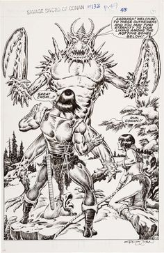 Gary Kwapisz and Ernie Chan Savage Sword of Conan #132 Splash Page | Lot #11089 | Heritage Auctions