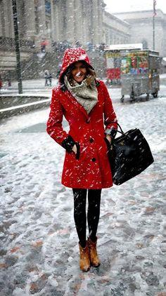 red winter coat.