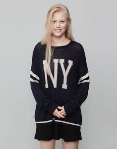 Pull&Bear - woman - knitwear - college style sweater - navy - 09559312-I2015
