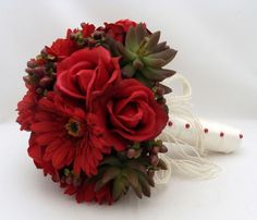 succulent wedding bouquets | succulent bridal bouquet real touch bridal bouquet red rose silk ...