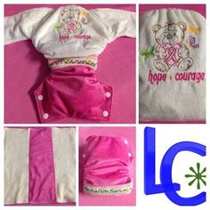 Handmade by Little Chappies Pink ribbon teddy nappy