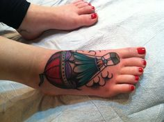 Hot air balloon tattoo to symbolize my journey as a mother