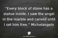 "Michelangelo (reminds me of ""The Gargoyle"", novel by Andrew Davidson)"