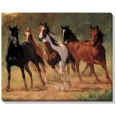 Wild Horses Wrapped Canvas Art