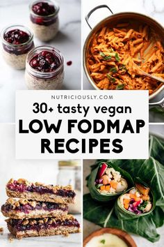 Delicious vegan low FODMAP recipes covering breakfast, lunch, dinner, dessert and snacks! Our easy and healthy picks are all gluten-free, pretty healthy and quick to make. Try delicious vegan bowls, pasta, oatmeal, smoothies and baked goods while on a plant-based low FODMAP diet! Everything's easy to digest and suitable for IBS. Vegan Recipes Easy Healthy, Healthy Eating Tips, Fodmap Diet, Low Fodmap, Plant Based Diet, Plant Based Recipes, Whole Food Recipes, Dinner Recipes, Oatmeal Smoothies