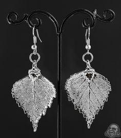 Sterling silver electroplated birch leaf earrings