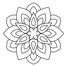 Easy mandala, basic and simple mandalas coloring book for adults, seniors, and beginner. Mandalas flower coloring page on white background. Easy Mandala Drawing, Mandala Art Lesson, Simple Mandala, Mandalas Drawing, Mandala Painting, Dot Painting, Flower Coloring Pages, Mandala Coloring Pages, Coloring Book Pages