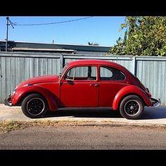 Crimson VW Beetle 1967(?) LA CA #beetle #volkswagon #vw #car (Taken with Instagram)