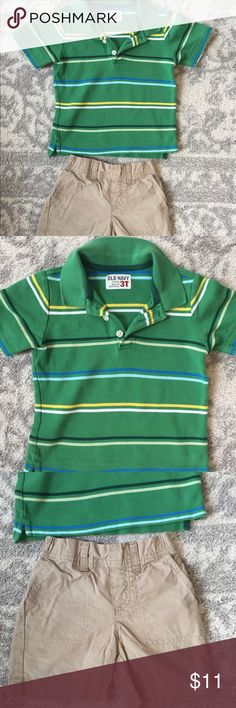 Boy's 3T outfit. Green striped polo is Old Navy brand, size 3T. Khaki shorts are size 3T, Circo brand. Very good condition. **All items come from a smoke-free and pet-free home. Bundle to save!! I am always open to offers! 😊 Check out my closet for other boy and girl clothes sized newborn through 4T. Thanks so much for stopping by! Happy Poshing! Old Navy Bottoms Shorts