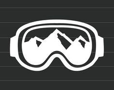 Lunettes de Sport d'hiver avec vue sur la montagne - vinyle autocollant Sticker - choisissent votre propre couleur - très bien pour les voitures, téléphones, ordinateurs portables et tablettes