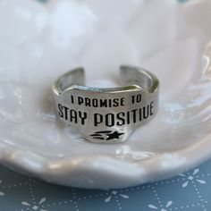 Stay Positive Engraved Recycled Pewter Vintage Look Promise Ring