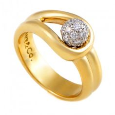 Tiffany & Co 18K Yellow Gold & White Gold Diamond Pave Engagement Ring