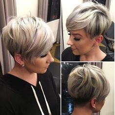 Sassy Undercut Pixie with Bangs Modern short pixie cuts are never cut evenly. Shaved sections can border on extra long pieces while being topped with mid-length spikes. Add a trendy blonde shade…More Haircuts For Fine Hair, Short Pixie Haircuts, Short Hairstyles For Women, Cool Hairstyles, Hairstyles 2018, Hairstyle Ideas, Hair Ideas, Sport Hairstyles, Short Hair Cuts For Women Edgy