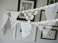 Eco Wedding Garland Decoration , Spring Summer Wedding , Ecofriendly White Banner , Handmade With Handcrocheted Vintage Doilies and Laces