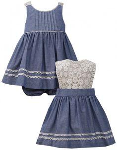 Baby Girls Blue/Ivory Crochet Lace Back Chambray Denim Dress, Bonnie Baby