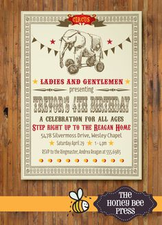 Vintage Circus Invitation by The Honey Bee Press Circus Party Invitations, Sip And See Invitations, Circus Theme Party, Vintage Invitations, 4th Birthday, Birthday Celebration, Birthday Party Themes, Birthday Ideas, Party Entertainment