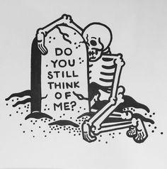 Skull illustration inspiration do you still think of me? Tattoo Drawings, Art Drawings, Print Tattoos, Photographie Street Art, Kaktus Tattoo, Posca Art, Skeleton Art, Skeleton Love, Skeleton Tattoos