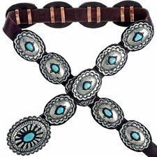 Navajo Santa Fe Style Turquoise Silver Concho Belt