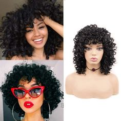 Short Afro Curly Synthetic Hair Wigs for Black Women Phoenixfly African Natural Black Loose Curly Fluffy Shoulder Length Natural Looking Hair Wigs Heat Resistant Hair Replacement Wigs with Wig Caps(Black) Short Afro, Best Wigs, Wigs For Black Women, Hair Wigs, Synthetic Hair, Shoulder Length, Wig Hairstyles, Cat Eye Sunglasses, Curly