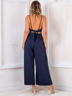 New casual V neck long wide navy jumpsuit strap dark blue summer backless romper Navy Jumpsuit, Backless Jumpsuit, Jumpsuit Outfit, Casual Jumpsuit, Blue Jumpsuits, Fashion Jumpsuits, Types Of Fashion Styles, Wide Leg, Rompers