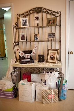 Cute country chic wedding gift table