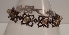 Chocolate brown seed bead and pale gold crystal bracelet £14.00