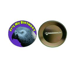 African Grey Parrot - Birthday 55mm Button Pin Badge (PG-0839)