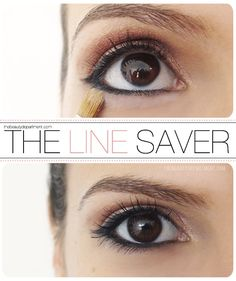 a great trick to keep your liner in place! Use a small flat brush to apply powder just beneath the eyeliner. This keeps it from spreading out and giving you 4pm raccoon eyes